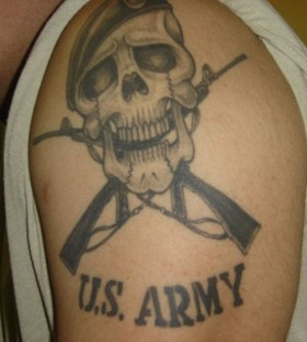 Skull and military style tattoos
