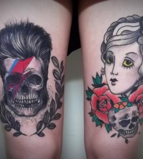 Skull and woman tattoo by Tyago Compiani
