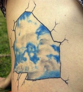 Sky and clouds realistic tattoo
