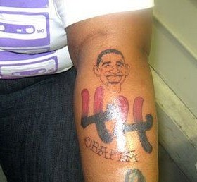 Smiling Barack Obama american president tattoo