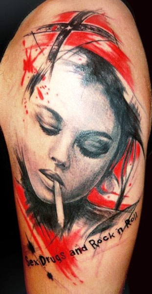 Smoking girl tattoo by Adam Kremer