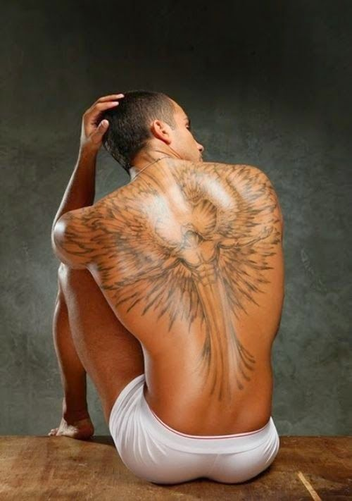 Strong men back wings tattoo