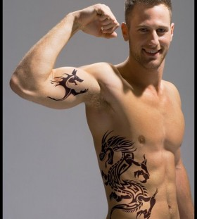 Strong men dragon tattoo
