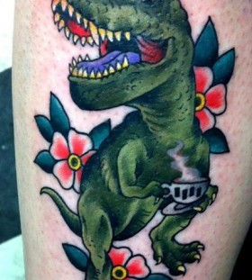 Tea cup and dinosaur tattoo