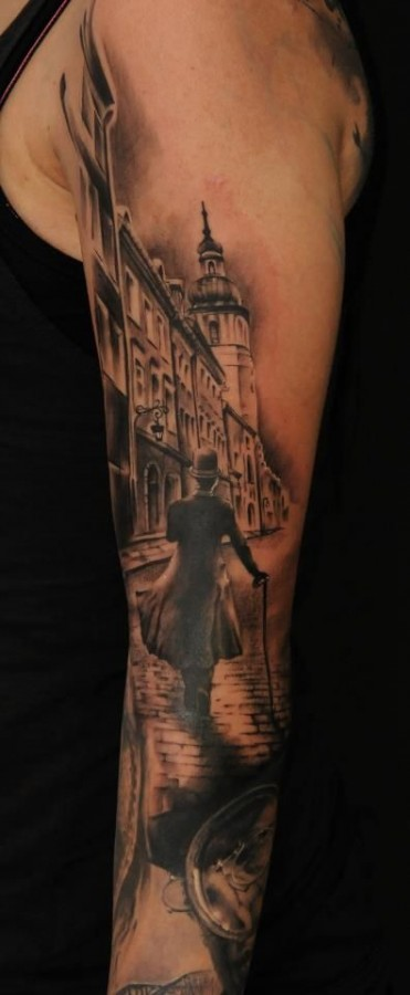 Town and old men realistic tattoo