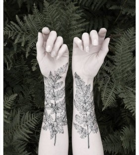 Tree and leaf tattoo