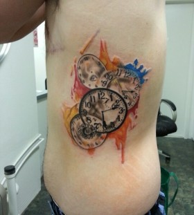 Watch watercolor tattoo