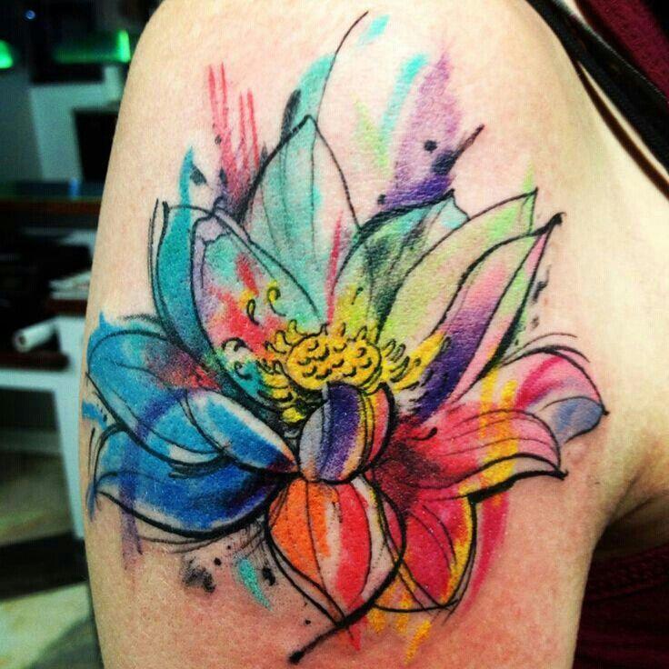 120c50e3fedcd Watercolor lotus flower tattoo - | TattooMagz › Tattoo Designs / Ink ...