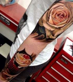 White rose realistic tattoo