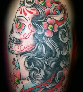 Women's skull tattoo