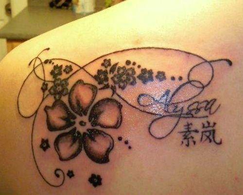 Adorable black hawaiian style tattoo