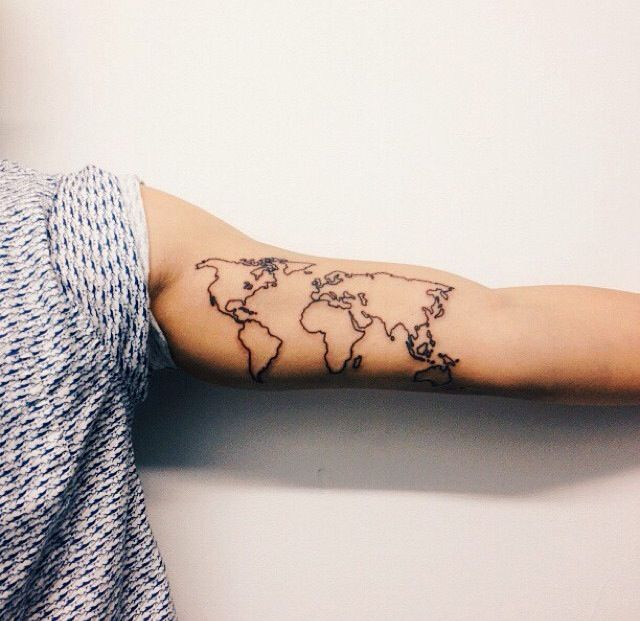 Adorable black map tattoo on arm