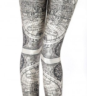 Adorable black map tattoo on legs