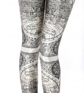 Adorable black map tattoo on legs