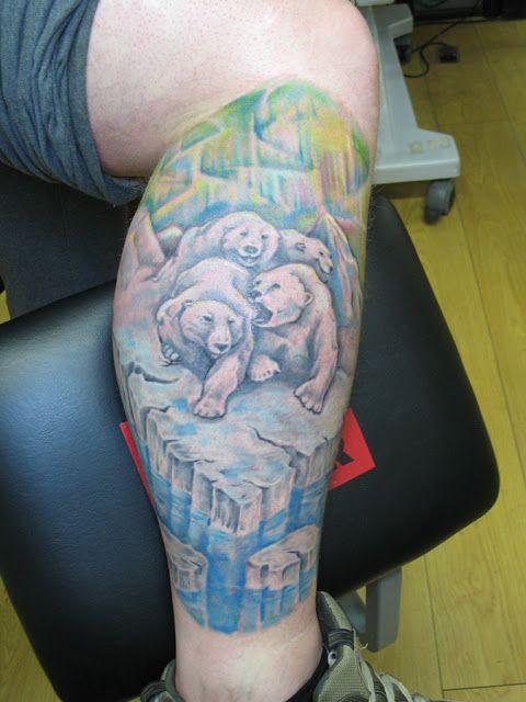 Adorable blue bear tattoo on leg