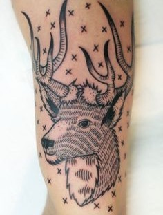 Adorable deer line tattoo on leg