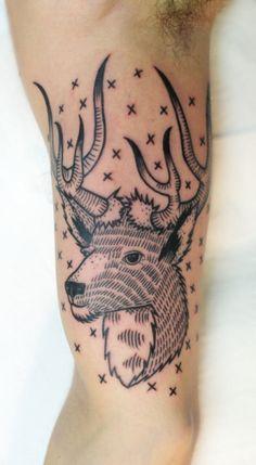 Adorable deer line tattoo on leg