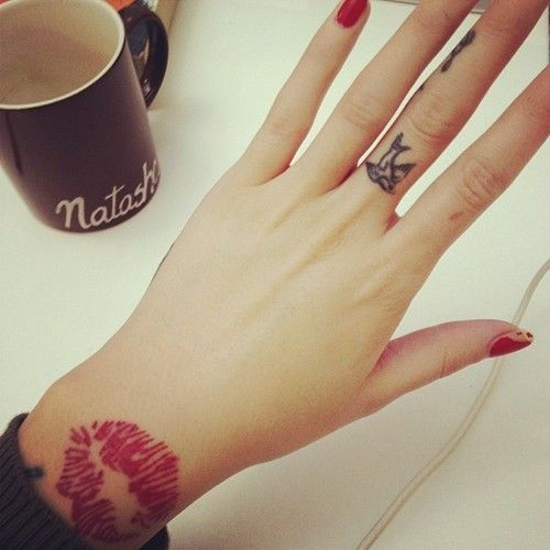 Adorable Nails And Lips Tattoo