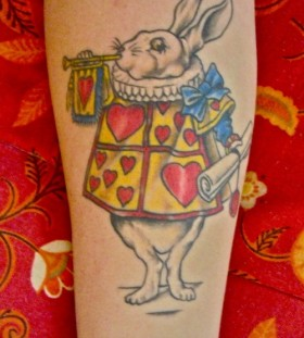 Adorable simple rabbit tattoo on arm