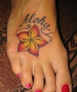 Aloha and red nails hawaiian style tattoo