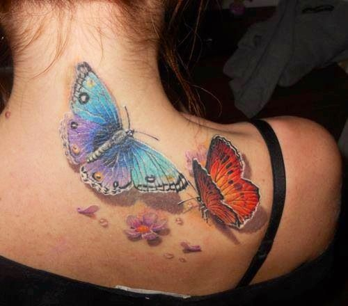 Amaizing 3D butterfly tattoo on shoulder