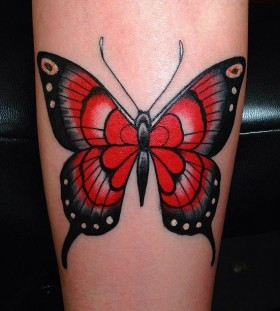 Amazing black and red butterfly tattooo