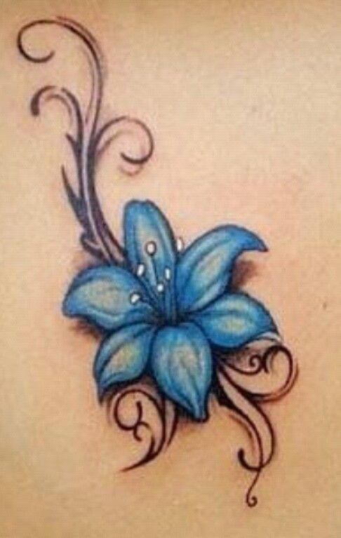 0071ed5bd3dd6 Amazing black blue flowers tattoos - | TattooMagz › Tattoo Designs ...
