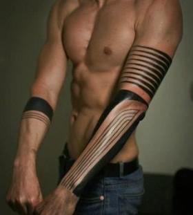 Amazing black line tattoo on arm