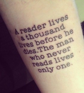 Amazing black quote tattoo on arm