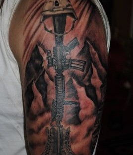 Amazing black soldier tattoo on arm