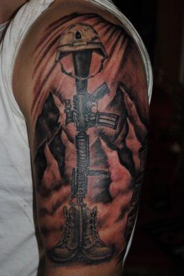 Amazing black soldier tattoo on arm