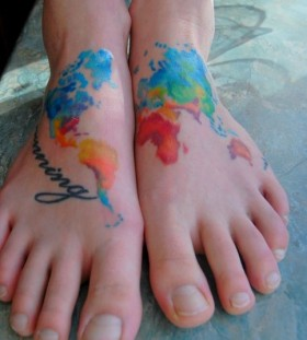 Amazing colorful map tattoo on legs