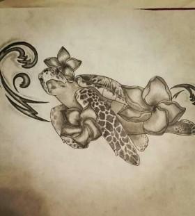 Amazing cute hawaiian style tattoo