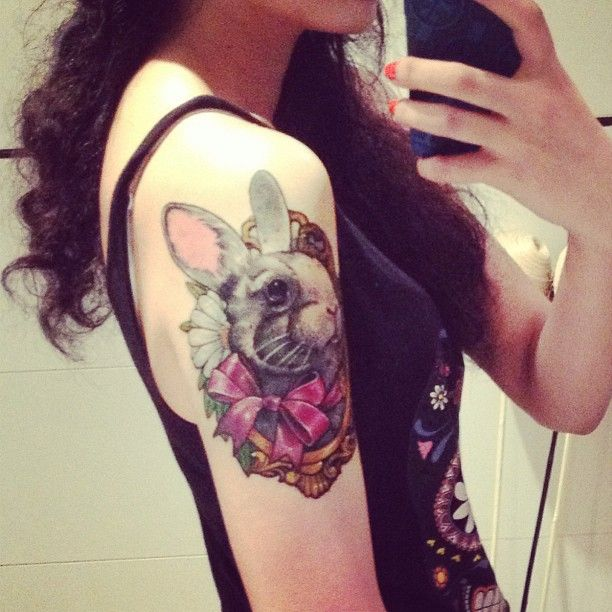 Amazing cute rabbit tattoo on arm