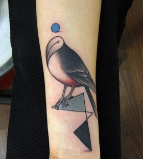 Amazing forms bird tattoo on arm
