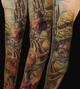 Amazing palace and horse tattoo on arm