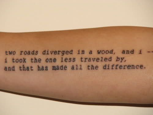 Amazing simple black quote tattoo on arm
