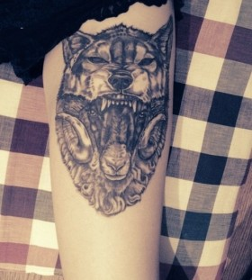 Amazing wierd wolf tattoo on leg