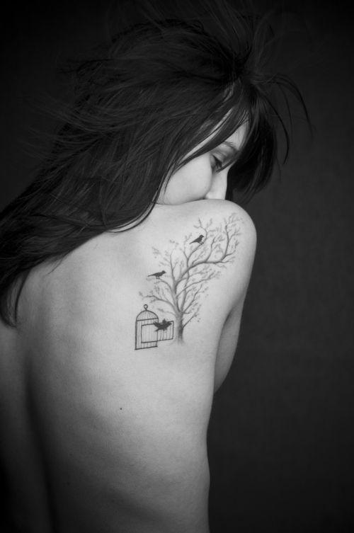 Amazing women tree tattoo on shoulder