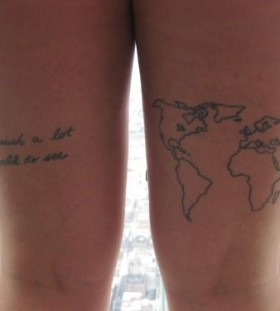 Amazing world quote tattoo on leg