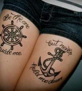 Anchor and lovely black quote tattoo on leg