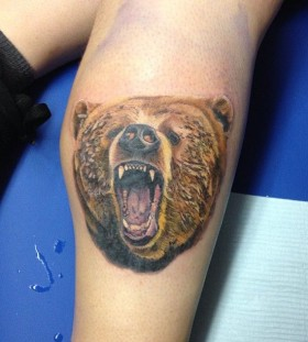 Angry brown bear tattoo on leg