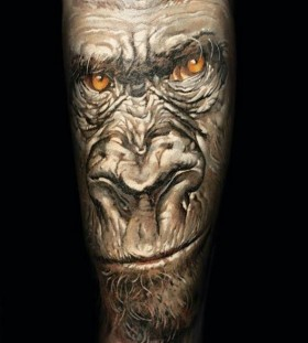 Angry monkey tattoo by Dimitry Samohin