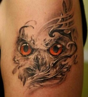Angry owl tattoo by Dimitry Samohin
