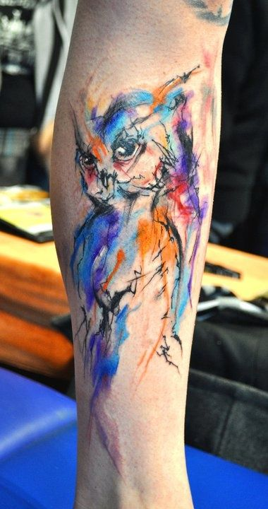 Angry owl watercolor tattoo