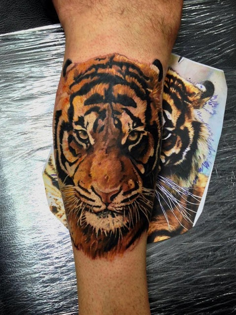 Angry tiger face tattoo on arm