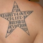 Awesome black letters and star tattoo on shoulder
