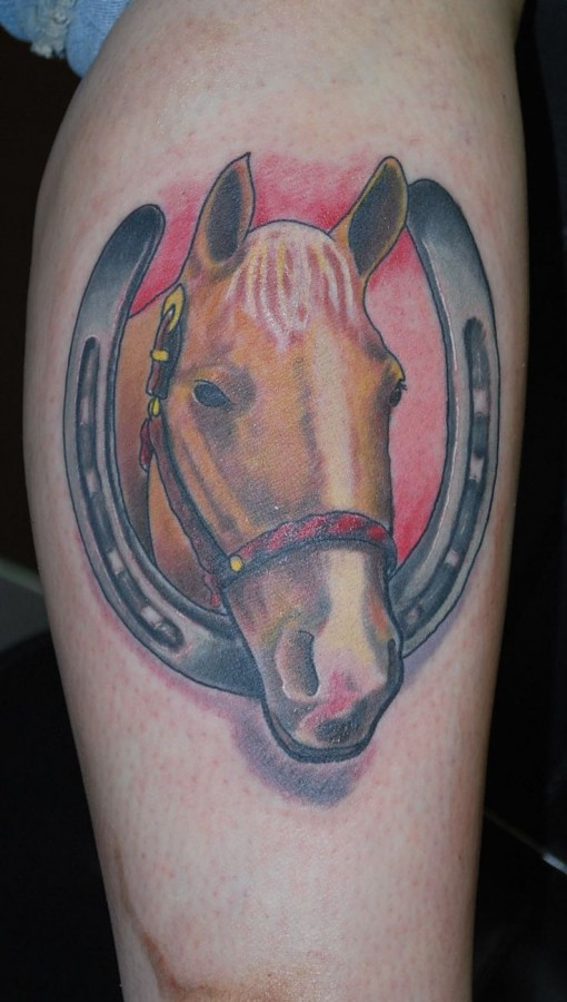 Awesome brown horse with horse shoe tattoo