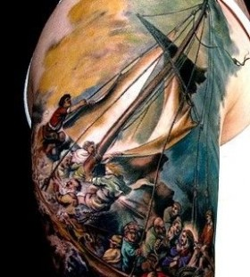 Awesome peoples and ship tattoo on arm