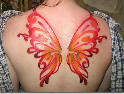 Back watercolor red butterfly tattooo
